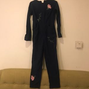 Samantha Pleet Navy Floral Embroidery Jumpsuit 4